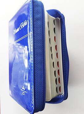 Santa Biblia Compacta, con Cierre, Reina Valera 1960, piel imitación cuero azul