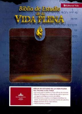 Biblia de Estudio De La Vida Plena,Italiana dos tonos, Marron oscuro, marron Caja