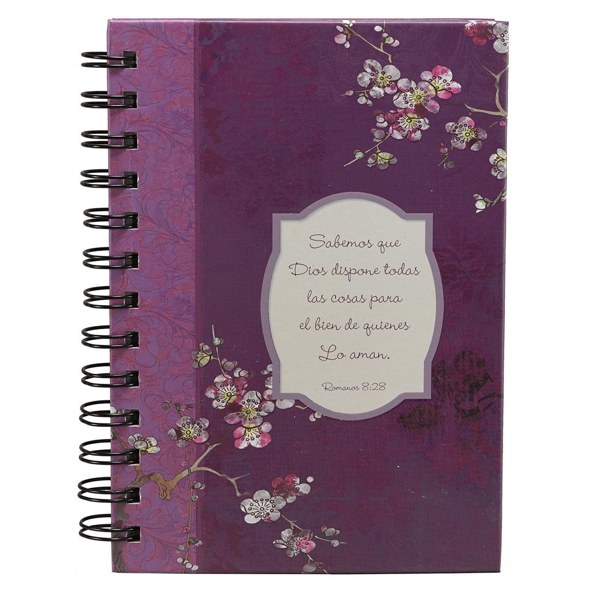 Diario de espiral doble, flores púrpura-