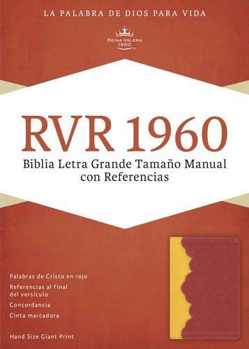 RVR 1960 Biblia Letra Grande tamano manual con referencia rojo ladrillo imitacion