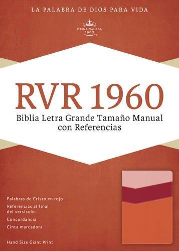 RVR 1960 Biblia Letra Grande tamano manual con referencia mango/fresa/durazno