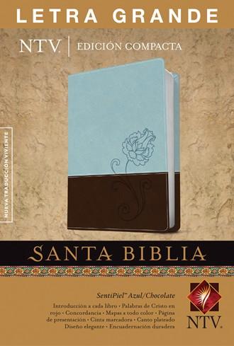 Biblia NTV, Edición compacta letra grande - celeste