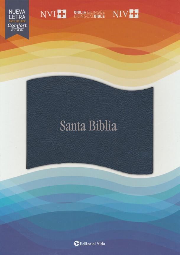 NVI/NIV Biblia Bilingüe, Leathersoft, Azul