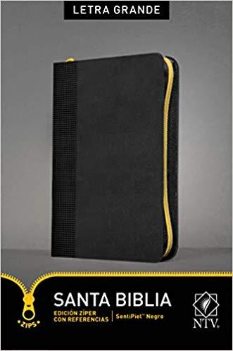 Santa Biblia NTV, Edición zíper con referencias, letra grande Negro