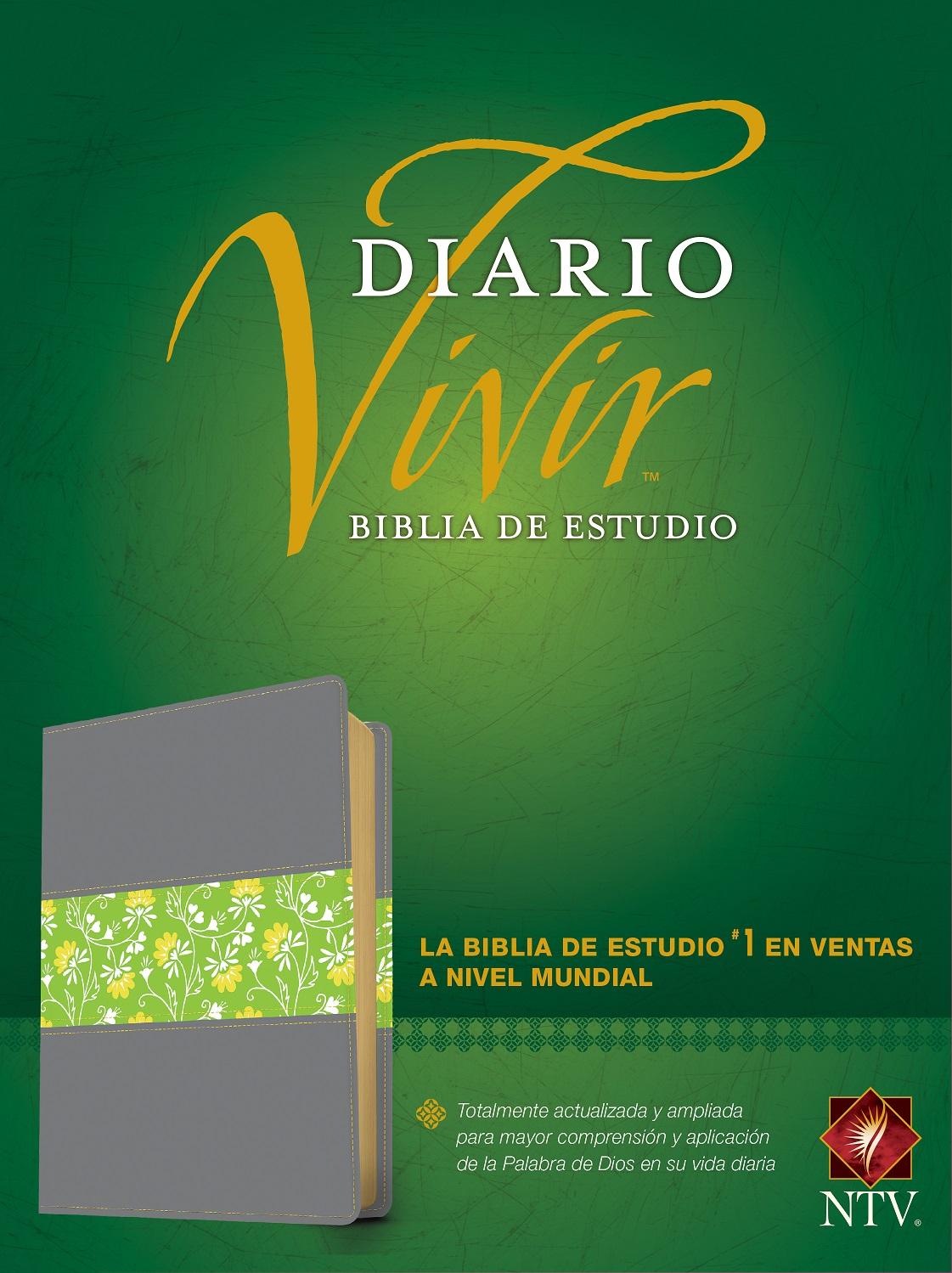 Biblia de estudio del diario vivir NTV (Letra Roja, SentiPiel, Gris/Verde)>