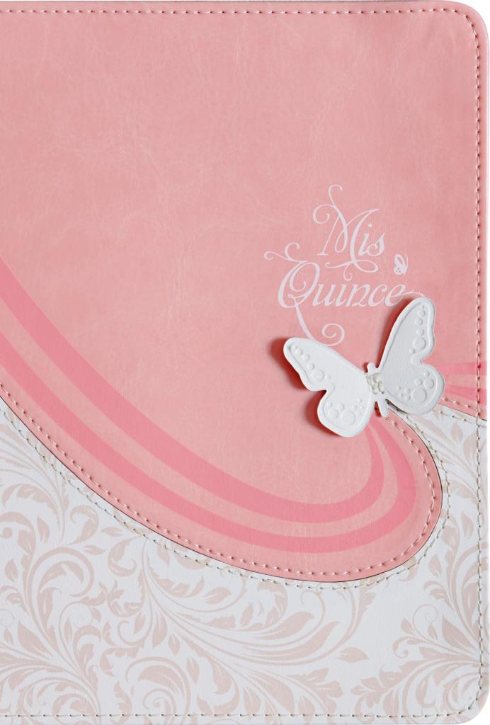 Quincea�era Biblia Mis Quince RVR 1960 , rosa y blanco s�mil piel.>