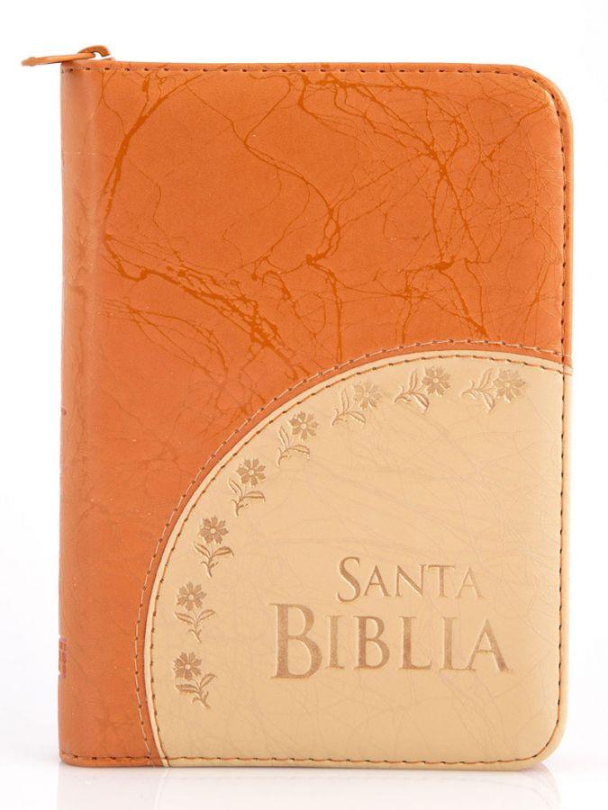 Santa Biblia Compacta, con Cierre, Reina Valera 1960, imitacion piel, duotono naranja