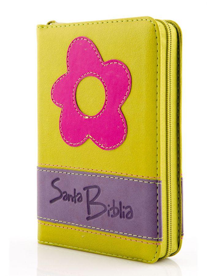 Santa Biblia Compacta, con Cierre, Reina Valera 1960, imitacion piel, duotono verde lila flor rosada>