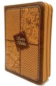 Santa Biblia Compacta, con Cierre, Reina Valera 1960, piel imitación cuero cafe claro