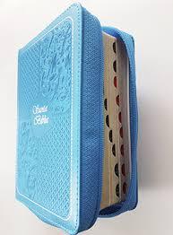 Santa Biblia Compacta, con Cierre, Reina Valera 1960, piel imitación cuero celeste