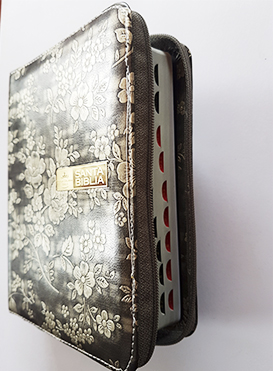 Santa Biblia Compacta, con Cierre, Reina Valera 1960, piel imitaci�n cuero plateado flores>